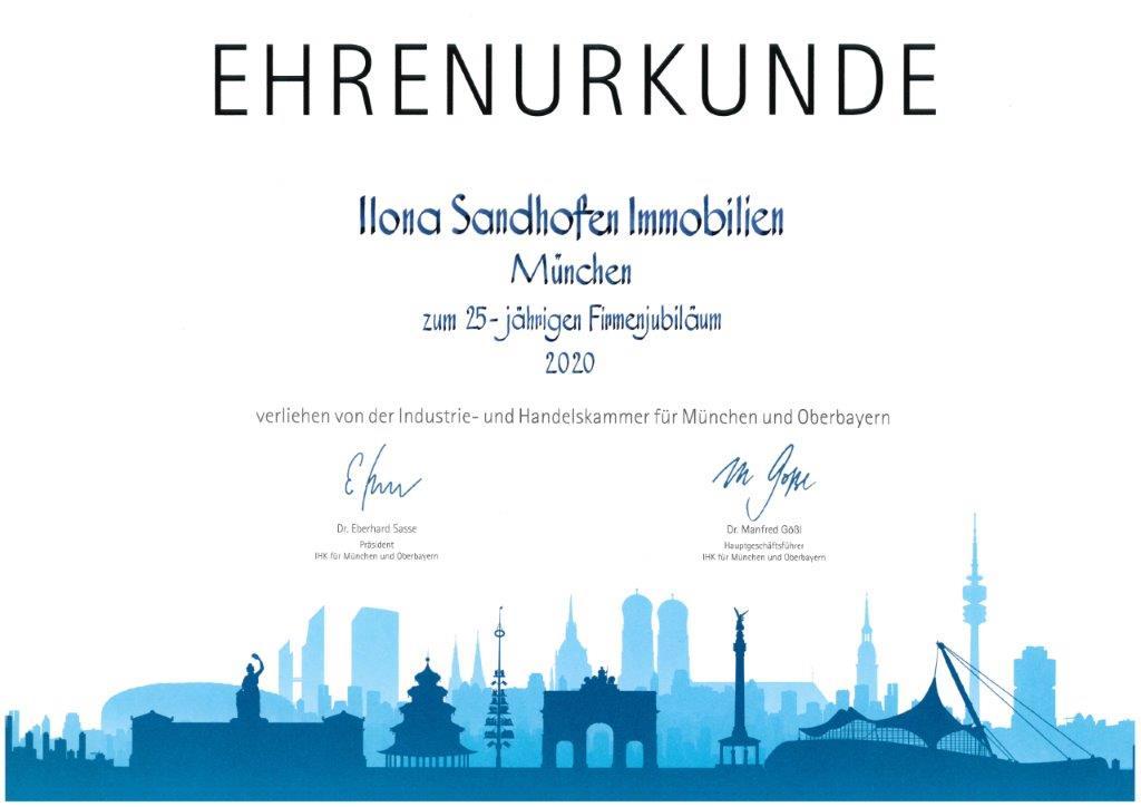 Sandhofen Immobilien IHK Ehrenurkunde 25 Jahre